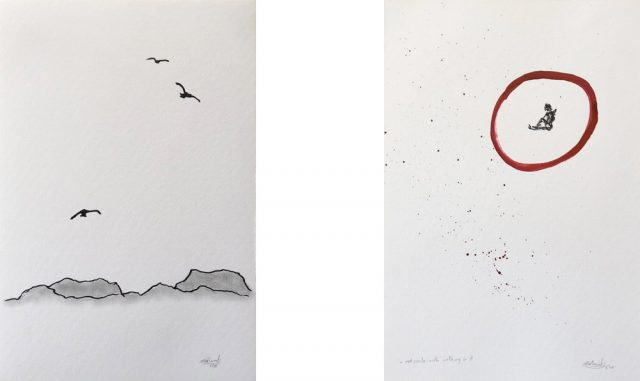 Two images.Vultures over Marfa Texas and red circle with nothing in it