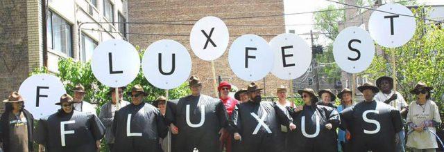 Fluxlist Fluxfest Chicago 2017. Performance of event score by Allen Bukkoff
